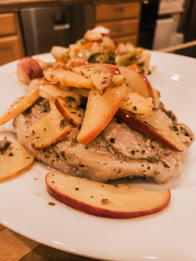 Pan fried pork chops and apples